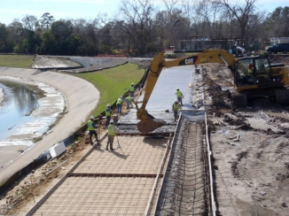 Construction of a hike-bike trail along White Oak Bayou in 2013.